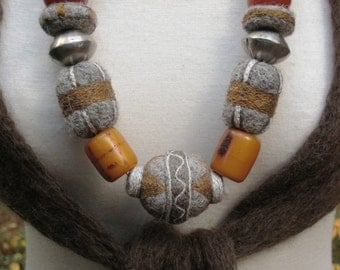 FELTED NECKLACE Embroidered Needle Felted Ethnic Silver Amber Tibet Wearable Art