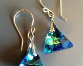 Bermuda Blue Swarovski Xilion Triangle Crystal Earrings. Sterling and Argentium sterling. Gorgeous. Sparkly. Dazzle
