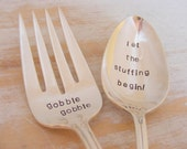 Thanksgiving Serving Set Hand Stamped Serving Fork and Serving Spoon