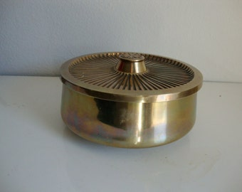 Brass Box, Lidded Jewelry Trinket Box,  Covered Dish, Office Supply Organizer