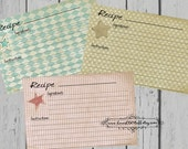 Chic Star Recipe Cards Set of 3 3x5 Printable 4x6 Recipe Card Aqua Blue Red Tan Country Kitchen 3 Sizes
