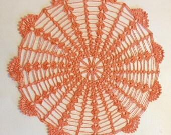 Vintage Crochet Doily Handmade Tabletop Decoration Accessory Tangerine