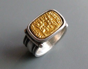 Constantine - ring of pure gold repousse and sterling silver