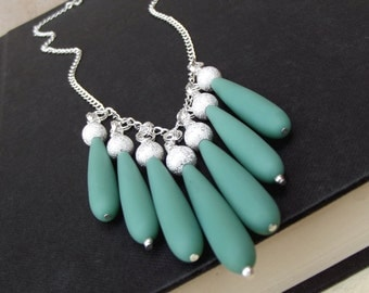 Opaque Turquoise Bib Necklace:  Pastel Green Long Teardrop Sea Glass Hammered Silver Chain Beach Jewelry, Beaded Fringe Necklace