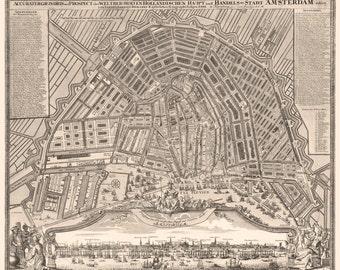 Vintage Map - Amsterdam, Netherlands – 1727