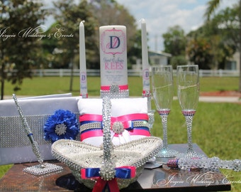 Bling  Wedding Package  to match your theme...Unity candles  set, flutes, cake server set, ring pillow, Basket, Guest book and pen