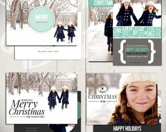 Christmas Card Templates: Full of Love - Set of Four 5x7 Holiday Card Templates for Photographers