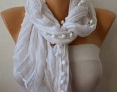 White Scarf Women Shawl Scarf - Cowl Scarf Gift Ideas For Her Women Fashion Accessories