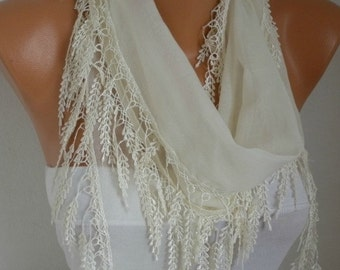 Creamy White Scarf Spring Mother's Day Gift Shawl Cowl Bridal Accessories  Bridesmaid Gift Women Fashion Accessories Gift Ideas For Her