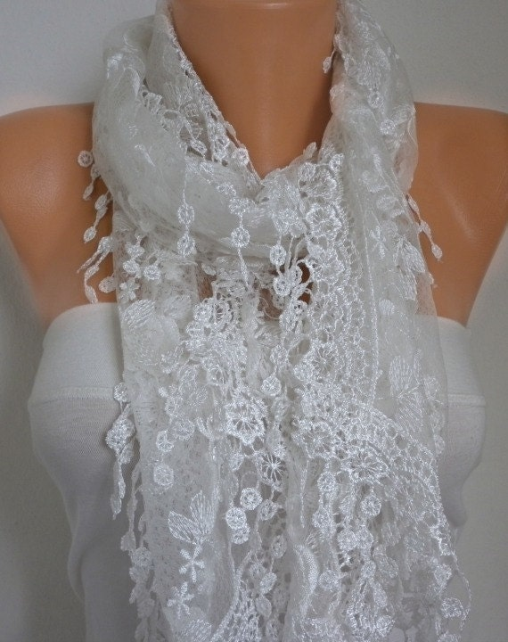 ON SALE - White Lace Scarf - Floral Scarf Shawl Scarf Cowl Scarf Lace Edge Gift Bridesmaid Gift Women's Fashion Accessories
