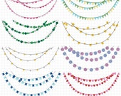 Glitter Bunting Banners Clipart, Bunting Clip Art, Instant Digital Download with Circles, Stars, Hearts, and Flags