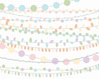 80% OFF SALE String Lights Clipart Easter Pastel Clip Art Digital Download