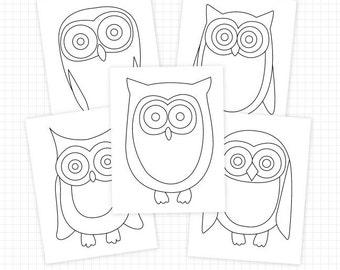 Printable Owl Coloring Pages & Owl Digital Stamps - Owl Clip Art Instant Digital Download Images