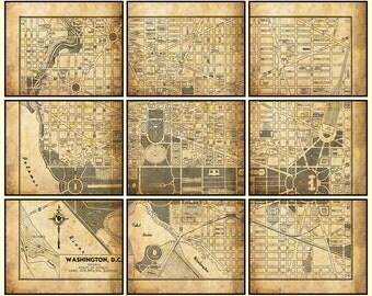 """Washington DC Map - 9 Section Map - 9 - 8"""" x 10"""" Prints - Print Poster"""