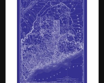 Maine State Map Vintage Print Poster Blueprint