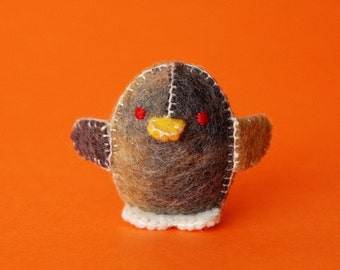Beige and Grey Felted Baby Chicken Toy  -- Ecofriendly Small Handmade Felt Pure Wool Animal -- For all Ages Cute Felt Toy