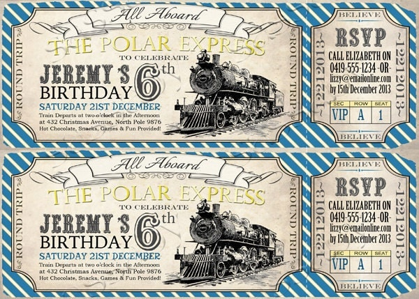 Polar Express Birthday Invitation Instant By Sassabyparties