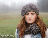 Crochet Beret Pattern: 'Ciao Bella Beret & Neck Warmer', Crochet hat, Infinity scarf, Circle scarf, Fall Fashion