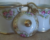 Lovely ViNtaGe Nippon Hand Painted Sugar and Creamer Pair  Pink Roses