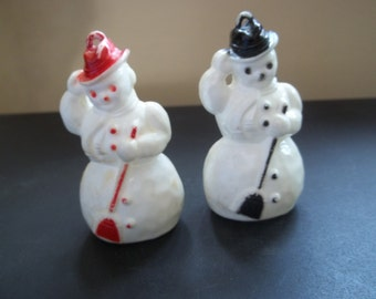 Pair of Celluloid Snowman Ornaments   Red and Black   Holiday Decorations   Collectible