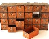 Vintage Dorman Parts Drawer | Hardware Bin with 24 Drawers in Rustic Orange (c.1950s) - Industrial Storage