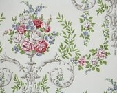 Retro Wallpaper by the Yard 70s Vintage Wallpaper - 1970s Pink White and Gray Roses and Lavender Purple Flowers in Victorian Vase Damask