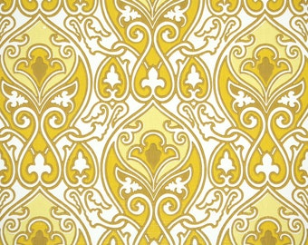 Retro Wallpaper by the Yard 70s Vintage Wallpaper – 1970s Golden Yellow and White Damask