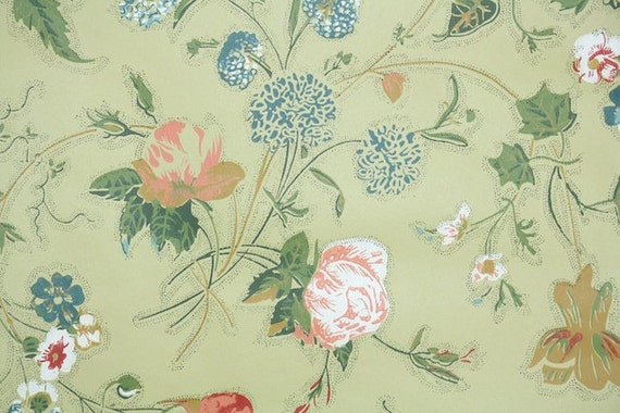 Retro Wallpaper by the Yard 60s Vintage Wallpaper - 1960s Orange Blue Green and Red Floral Chintz on Chartreuse