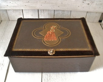 Vintage jewelry box Art Deco upcycled brown faux leather Victorian lady