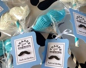 Little Man Mustache  Birthday Party - Favor Tags - Baby Blue or Red - Black and White