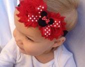 Baby Headband - Minnie mouse headband -newborn, infant or toddler sizes