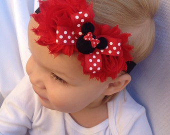 Baby Headband - Minnie mouse headband -newborn, infant or toddler sizes