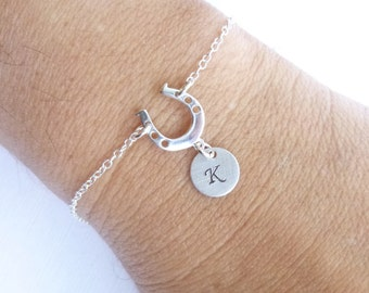 Lucky Horseshoe Initial Bracelet  -- Entirely Sterling Silver -- Personalized Good Luck Charm