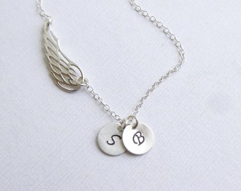 Angel Wing Necklace with Two Initials -- Personalized 925 Sterling Silver -- Friendship Necklace -- Mothers Necklace