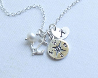 Sterling Silver Compass Initial Heart Necklace -- Personalized --  Graduation -- Journey