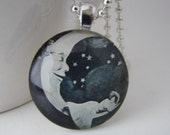 It's Only a Paper Moon Pendant with Free Necklace