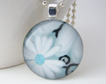 Blue Daisies Glass Tile Pendant with Free Necklace