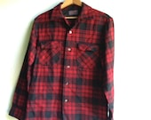 RESERVED for Amy Prairie camp wool shirt, pendleton, red black lumberjack, plaid jacket , retro chic rustic mountain forest wear