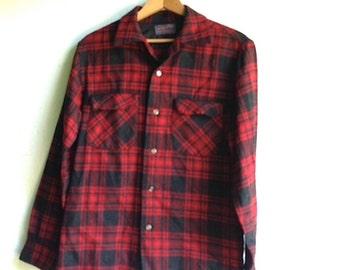 Gal dad gift guy, Prairie camp wool shirt, pendleton, red black lumberjack, plaid jacket , retro chic rustic mountain forest wear