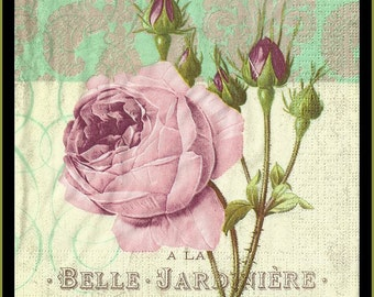 Rose On Tissue Paper Napkins -  Use For Decoupage, Mixed Media, Scrapbooking, Collage And Altered Art Projects