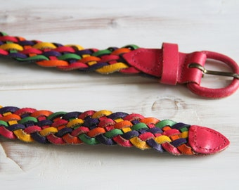 Vintage Leather Multicolored Braided Belt Size Small