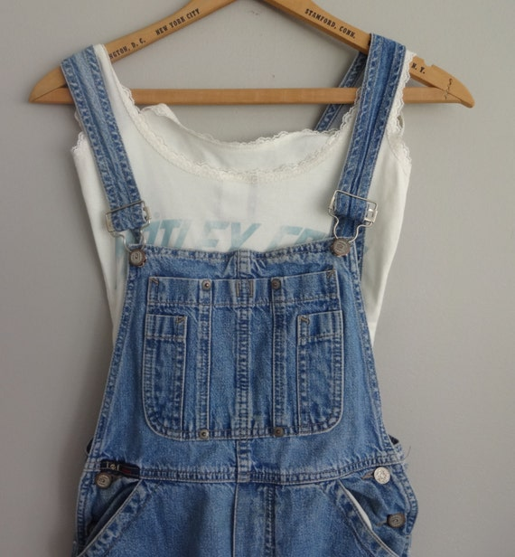 vintage Upcyled distressed denim jeans Bib overalls