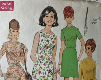 Vintage 1967 MOD Dress  with Slim or A-Line Skirt McCall's Sewing Pattern 9083 Size 12 Bust 34