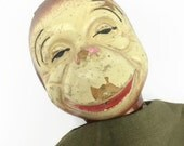 Naughty monkey vintage hand puppet with sawdust head