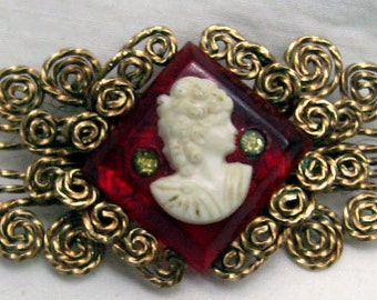 New Lower Price!!  Vintage Handmade Fancy Lady Cameo in White on  Red with Rhinestones  Filigree Square Gold Wire  Victorian Costume