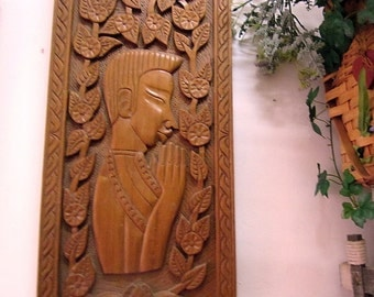 Prayer - 80's Asian Artistically Detailed Hand-Carved HEAVY Solid Wood Wall Hanging