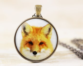 Fox Necklace - Wildlife Photography Pendant , Red Fox Portrait Necklace