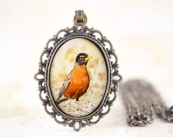 Spring Robin Necklace - Red Robin Bird Jewelry, Nature Photography Necklace, Bronze Bird Jewelry Pendant, American Robin Jewelry