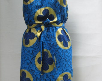 African Print dress, Holland Wax , Cotton Dress, African Print Dress, Royal Blue, metallic gold, navy blue, Tribal Print  dress