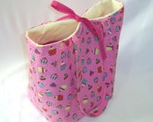 Cupcake Tote Bag, Cloth Purse, Handmade Handbag, Pink Tote Bag, Polka Dots, Birthday Fabric Bag, Shoulder Bag